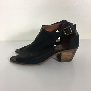 Lucky Brand Black Leather Barimo Heeled Sandals